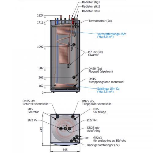 Ackumulatortank TIDA 500/B25 + 10 Solslingor