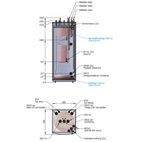 Ackumulatortank TIDA 300/B25 + 14 Solslingor