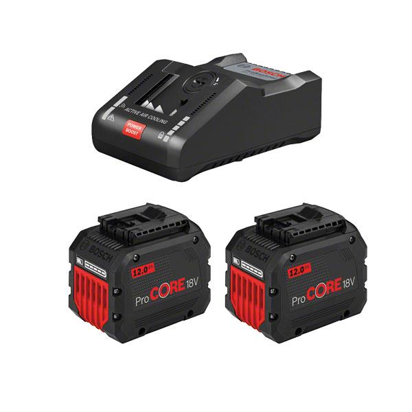 Batteriset 18v laddare & 2st 12.0 AH batterier ProCORE Bosch Professional