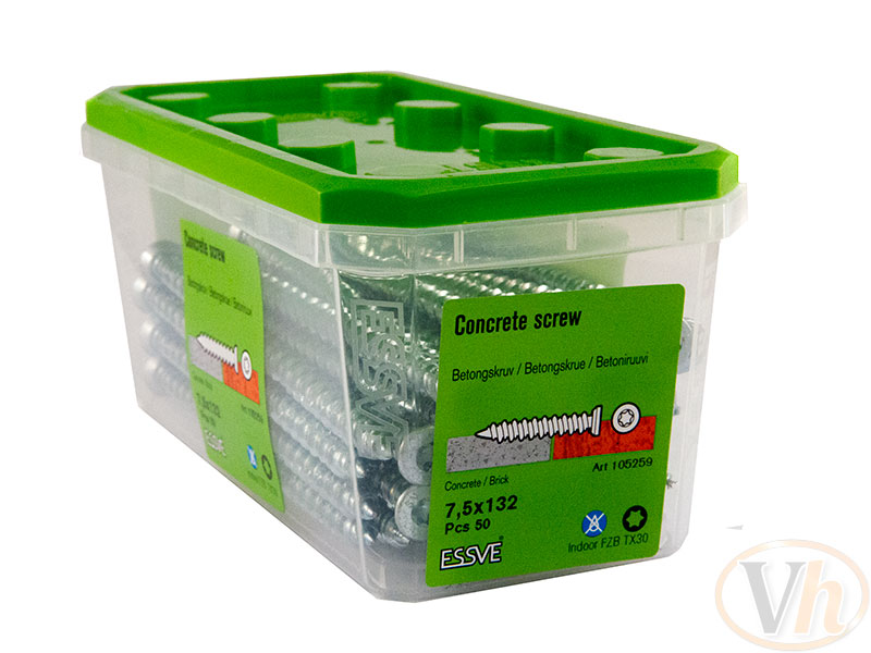 betongskruv blank försänkt skalle essbox