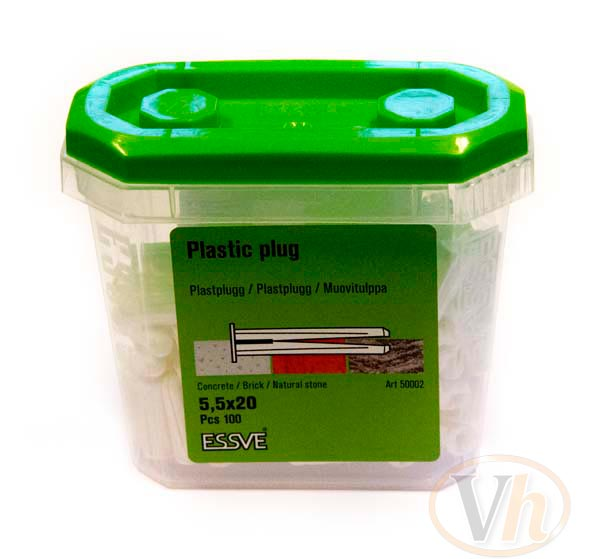 Plastplugg Essve (5.5 x 20 Vit - 100st)