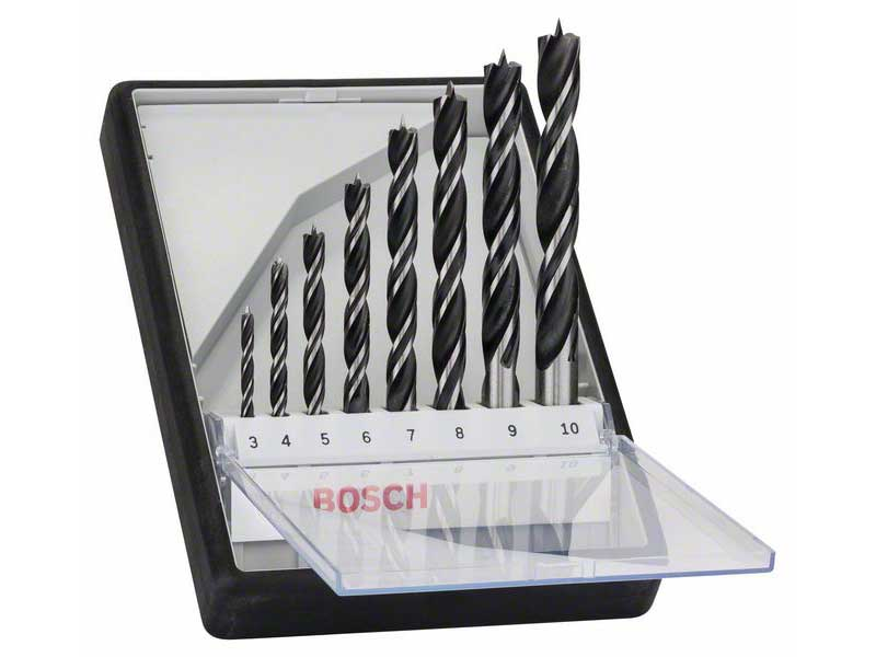 Träborrset 8 delar 3-10 mm Bosch Robustline