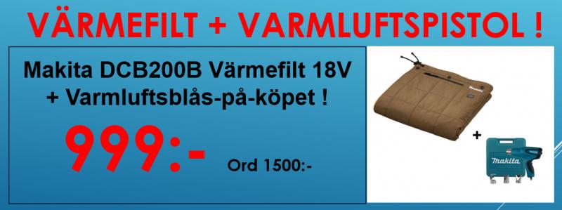 Makita DCB200B Värmefilt 18V + Varmluftsblås-på-köpet, Värde 795:- !