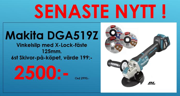 Makita DGA519Z Vinkelslip 18V, X-lock 125mm