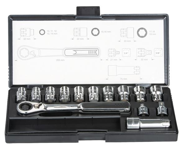 Makita B-65595 Hylsnyckelsats med genomgående hylsor, 14 delar