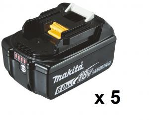 Makita BL1860B Batteri 5-pack 18V 6.0Ah