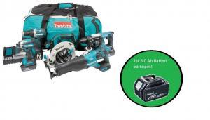 Makita DLX5032T combokit (5 st maskiner i väska) + 1st 5,0Ah-batteri-på-köpet, värde 1100:-