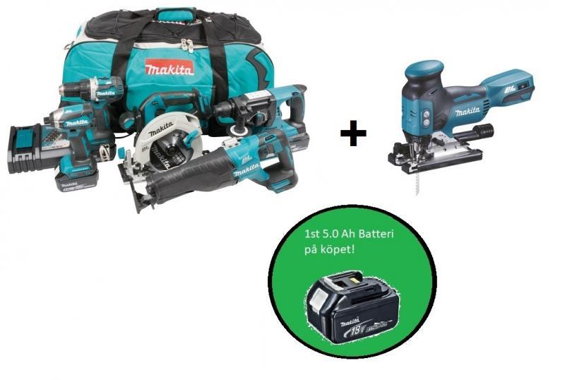 Makita DLX5032T plus combokit (6 st maskiner i väska) + 1st 5,0Ah-batteri-på-köpet, värde 1100:-