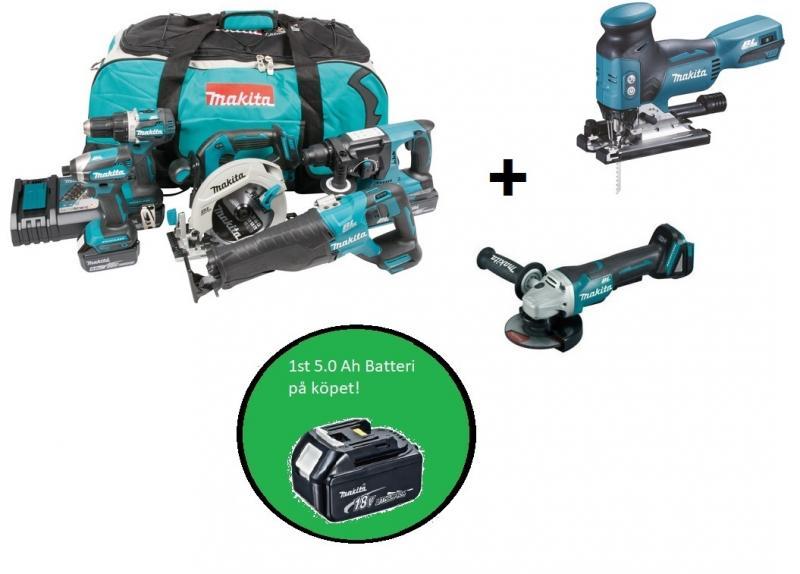 Makita DLX5032T plusplus combokit (7 st maskiner i väska)+ 1st 5,0Ah-batteri-på-köpet, värde 1100:-
