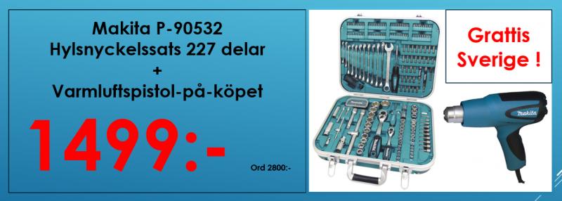 Makita P-90532 Multiväska 227 delar, Hylsnyckelsats + Varmluftspistol-på-köpet, Värde 895:-