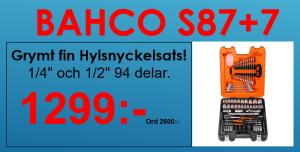 """Bahco S87+7 Hylsnyckelsats 1/4"""" och 1/2"""" 94 delar"""