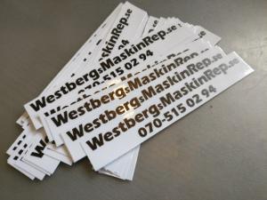 """Dekal  """"WestbergsMaskinRep.se"""""""