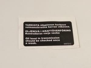 Dekal Varning Oljenivå BRP
