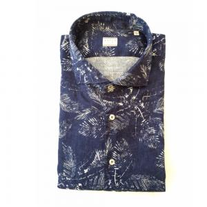 Linneskjorta med bladmönster