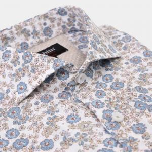 Beige/ljusblå blomskjorta
