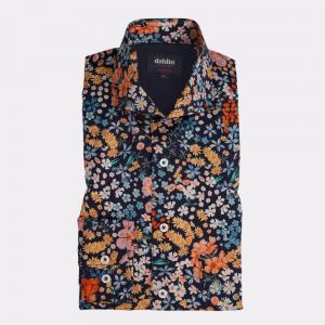 Satinskjorta med blomprint