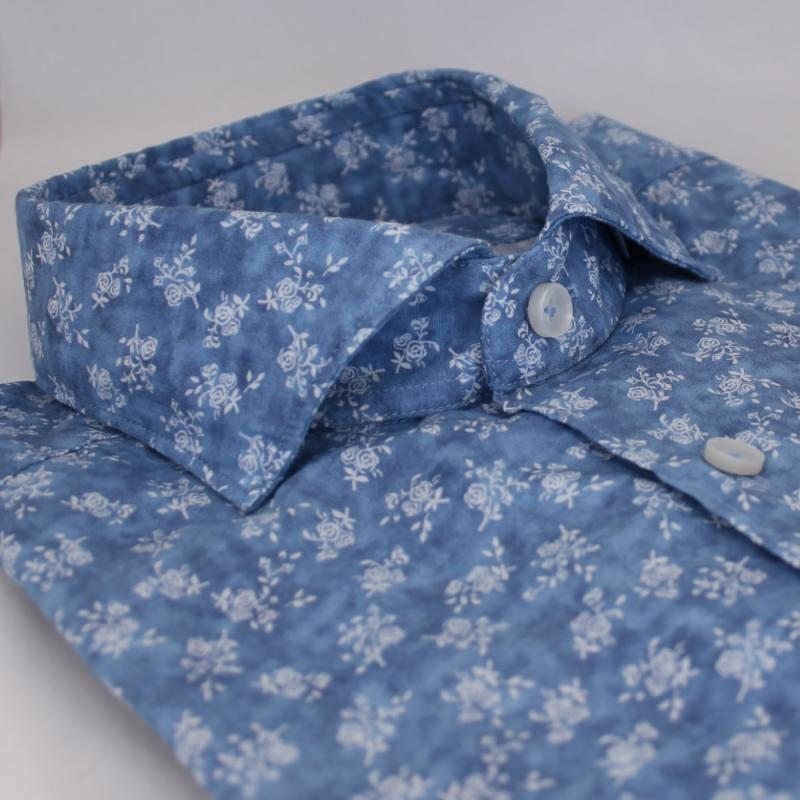 Småblommig skjorta Blå