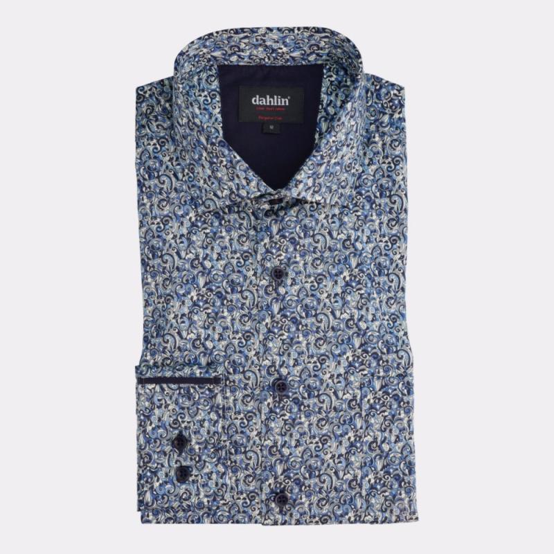 Satinskjorta med paisleymönster blå