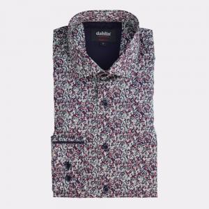 Satinskjorta med paisleymönster Vinröd