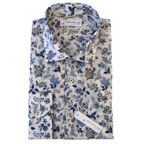 Blå blomskjorta