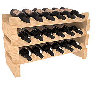 Mini-vinställ för 18 flaskor med rundade lagringsplatser