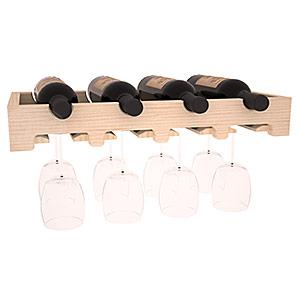 Hylla i trä för 4 flaskor och 8 glas med 50,8 cm bredd