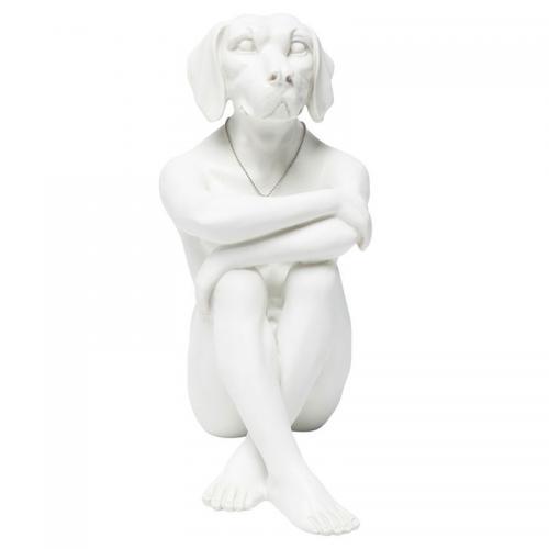 Dekorfigur Skulptur Gangster Dog, Vit