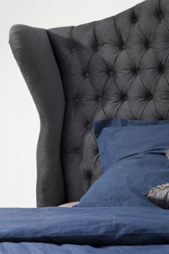 Säng Boudoir Grå Sammet 160 cm