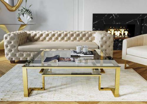 Soffbord Gold Rush, Mässing & Glas