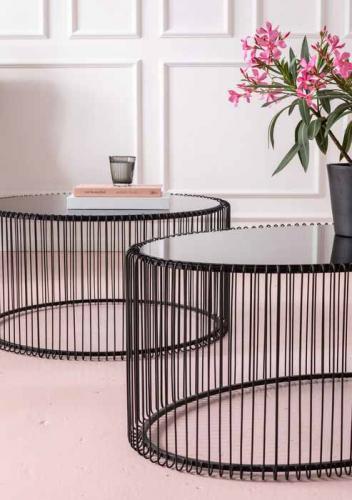 Soffbord Wire Oval, Svart