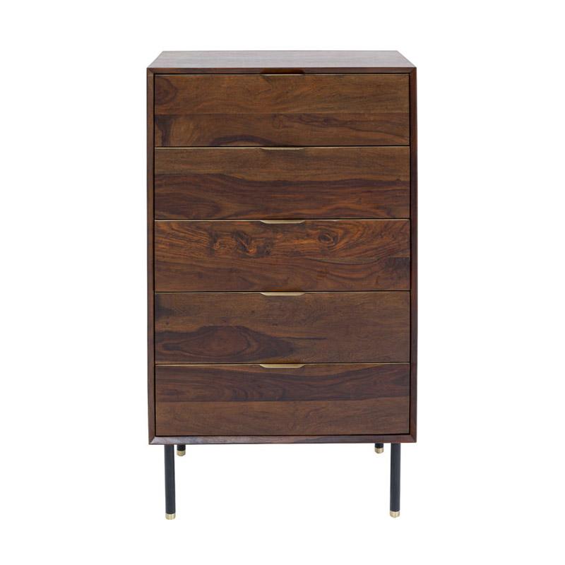 Byrå Ravello, mörkt trä, 5 lådor