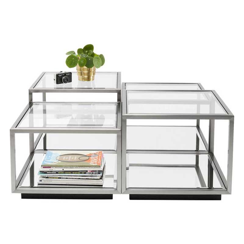 Soffbord Spegel & Glas Silver, 4-set