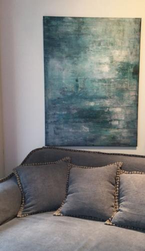 Canvas Abstrakt i grönt 120 cm