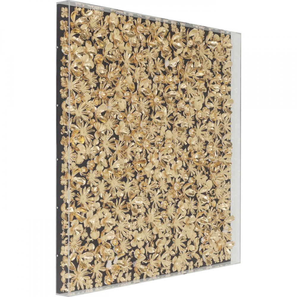 Tavla med guldmålade silkesblommor i plexiram från Wohnzimmer