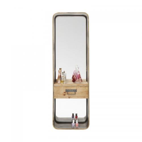 Spegel Stål med låda 120 cm