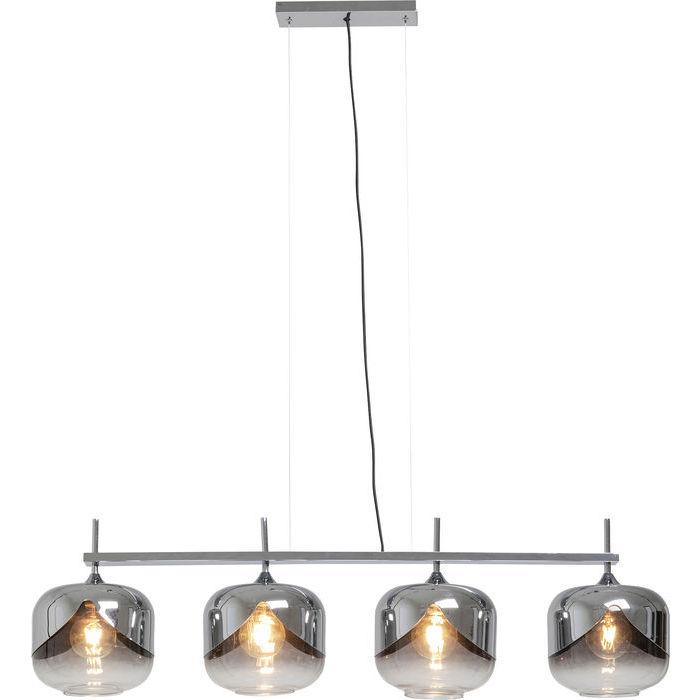 Modern taklampa i blank krom och tonat glas