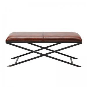 Elegant bänk i läder och svart underrede - Wohnzimmer.se