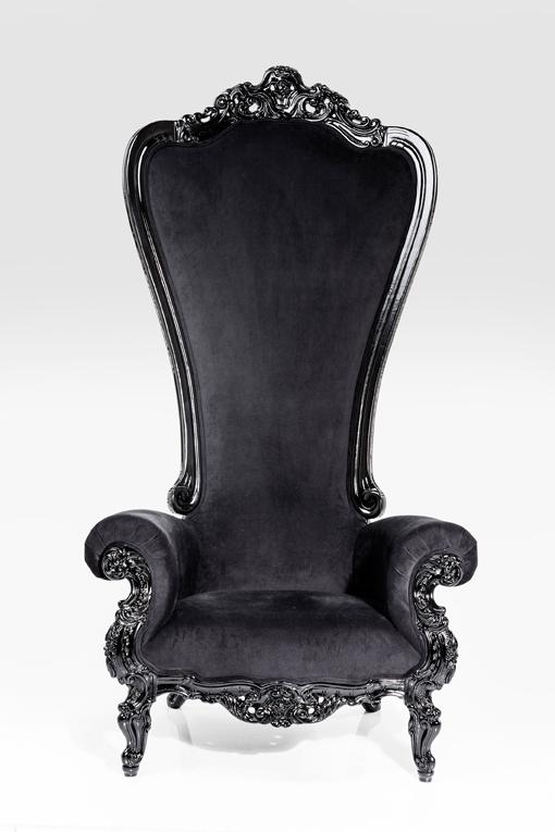 Barock hög fåtölj i svart sammet - wohnzimmer