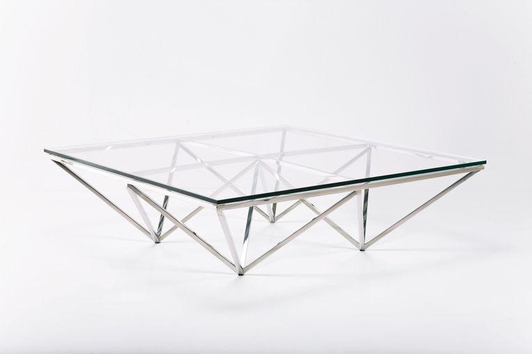 Unika Soffbord Geometry Silver - glasskiva AW-04