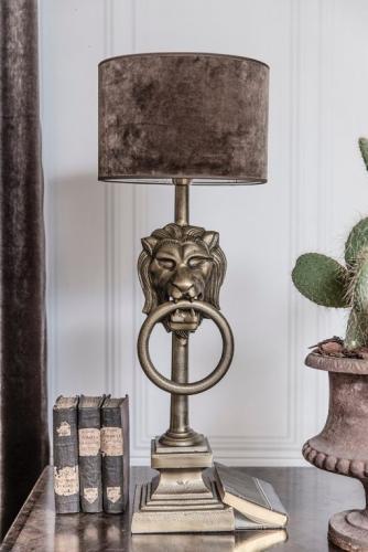 Lampfot Bordslampa Lejon antik mässing