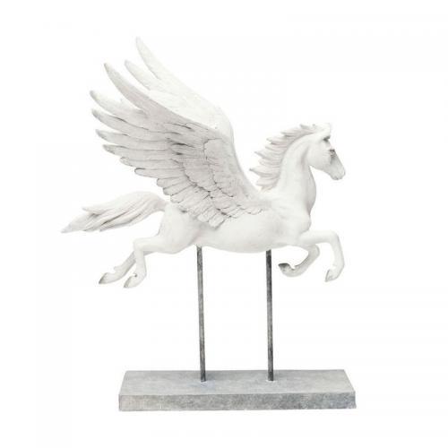 Vit skulptur flygande pegasus.