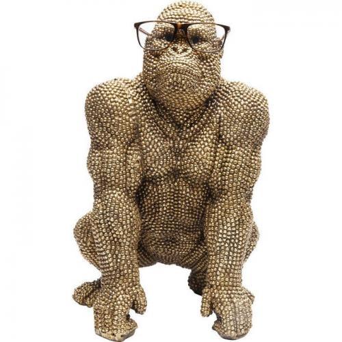 Skulptur Gorilla täckt med brons-guldig finish nitar.