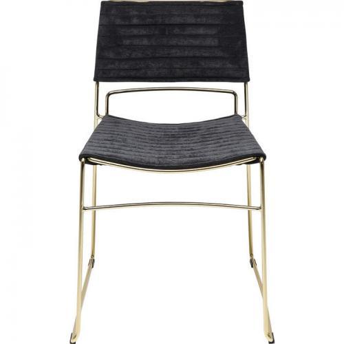 En elegant och stilren designstol i mässing och svart
