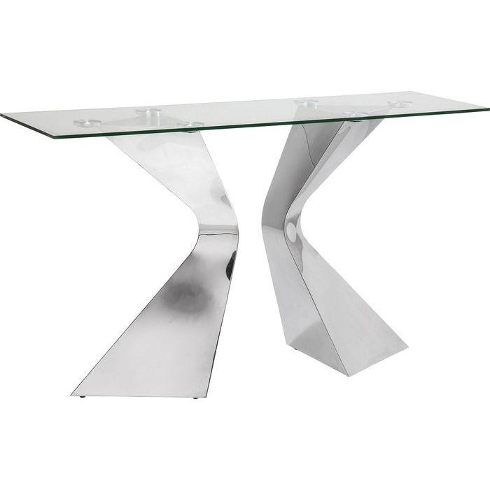 Elegant konsolbord med skiva i klarglas och kromat underrede