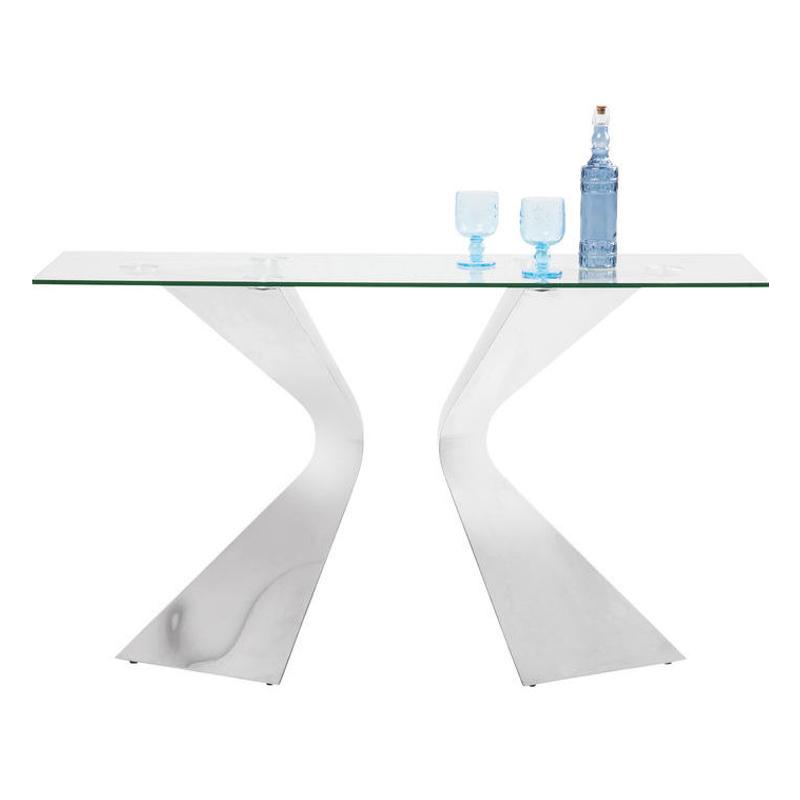 Ett elegant glasbord och konsolbord med underrede i kromad silverfinish