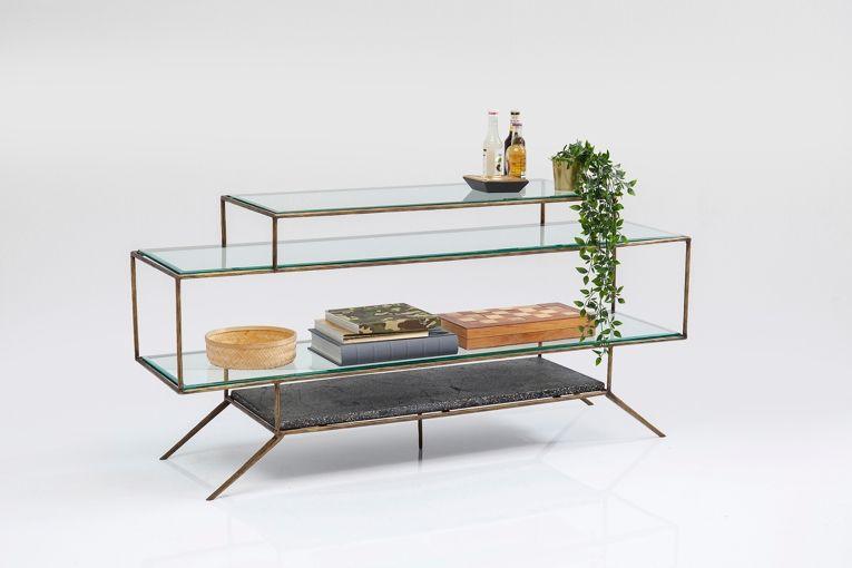 Hylla Bord i glas och betong i fyra plan med ram i borstad mässing. Mått: höjd 72 x bredd 153 x djup 40,5 cm