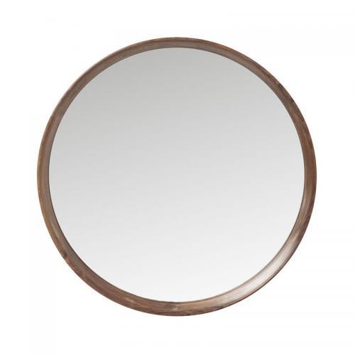 Spegel Rund Valnöt Ø80 cm