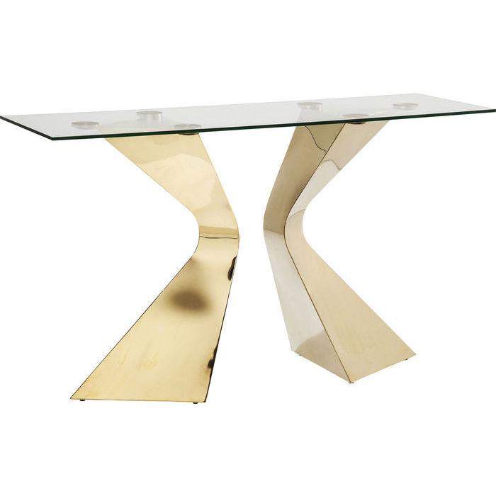 Konsolbord i glas och mässing