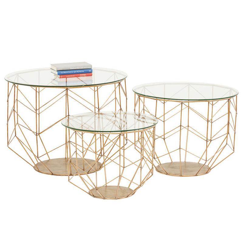 Soffbord i glas och mässing 3 set