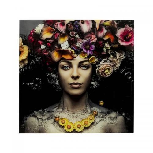 Glastavla Blomstergudinna 80x80 cm